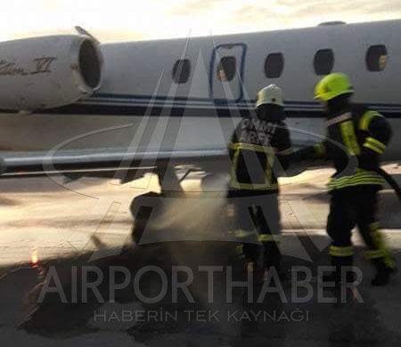 Esenboğa'ya inen uçağın lastikleri yandı