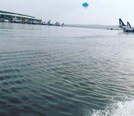 Yağmur yağdı Esenboğa'da su birikti