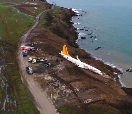 Kaza yeri ve uçak havadan böyle görüntülendi