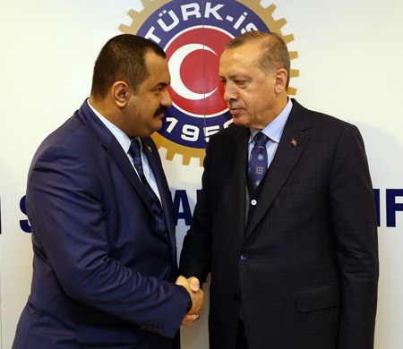 Cumhurbaşkanı Erdoğan Hava İş Genel Başkanı Tatlıbal ile görüştü
