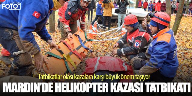Helikopter kazası tatbikatı nefes kesti