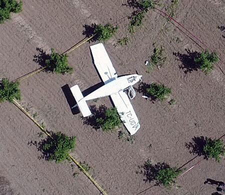 İşte Bursa'da düşen uçağın görüntüleri