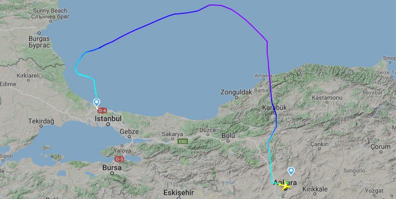 THY uçağı Bulgar hava sahası üzerinden Ankara'ya uçtu!