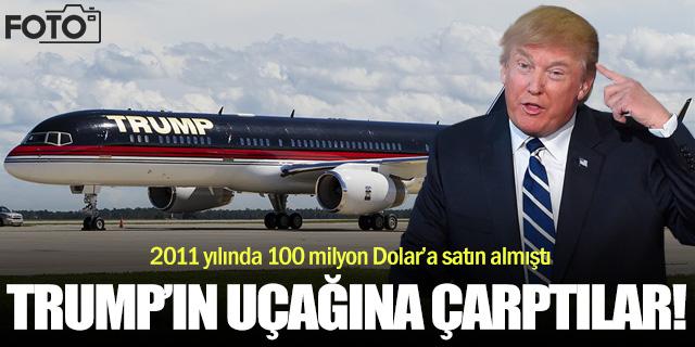 Donald Trump'ın uçağına çarptılar!