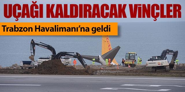 Uçağı kaldıracak vinçler Trabzon Havalimanı'nda