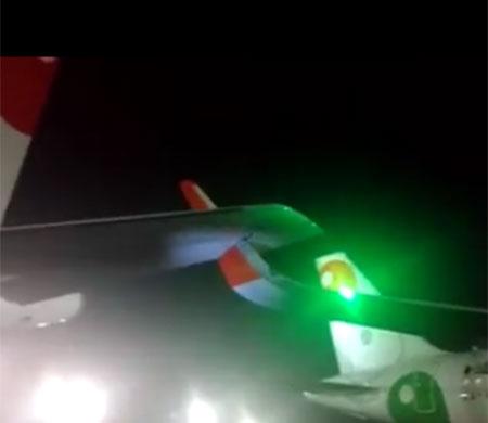 Meksika iki uçak apronda çarpıştı
